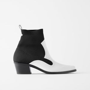Zara contrasting stretch heeled cowboy ankle boots